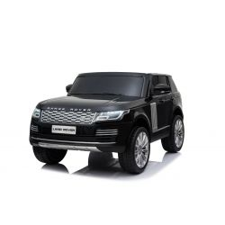 Elektrické autíčko Range Rover, Dvojmiestne, čierne, Kožené sedadlá, LCD Displej so vstupom USB, Pohon 4x4, 2x 12V7AH, EVA kolesá, Odpružené nápravy, Kľúčové trojpolohové štartovanie, 2,4 GHz Bluetooth Dialkový Ovládač