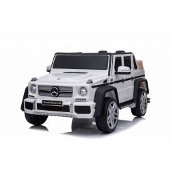 Elektrické autíčko Mercedes G650 MAYBACH, 12V, 2,4 GHz dialkové ovládanie, USB / SD Vstup, odpruženie, 12V batéria, mäkké EVA kolesá, 2 X MOTOR, Biele, ORIGINAL licencia