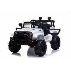 Elektrické autíčko OFFROAD s pohonom zadných kolies, biele, 12V batéria, Vysoký podvozok, široké sedadlo, Odpružené nápravy, 2,4 GHz Diaľkový ovládač, MP3 prehrávač so vstupom USB/SD, LED svetlá
