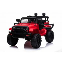 Elektrické autíčko OFFROAD s pohonom zadných kolies, červené, 12V batéria, Vysoký podvozok, široké sedadlo, Odpružené nápravy, 2,4 GHz Diaľkový ovládač, MP3 prehrávač so vstupom USB/SD, LED svetlá