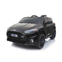 Elektrické autíčko Ford Focus RS, Čierne, 12V, EVA kolesá, čalúnené sedadlo, 2,4 GHz DO, 2 X MOTOR, USB, Bluetooth, Radio