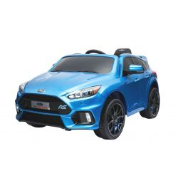 Elektrické autíčko Ford Focus RS, Modré Lakované, 12V, EVA kolesá, čalúnené sedadlo, 2,4 GHz DO, 2 X MOTOR, USB, Bluetooth, Radio