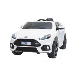 Elektrické autíčko Ford Focus RS, Biele, 12V, EVA kolesá, čalúnené sedadlo, 2,4 GHz DO, 2 X MOTOR, USB, Bluetooth, Radio