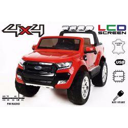 Zánovné elektrické autíčko Ford Ranger Wildtrak 4X4 LCD Luxury, LCD obrazovka, Pohon 4x4, 2 x 12V, EVA kolesá, čalúnené sedadlo, 2,4 GHz DO, kľúč, 4 X MOTOR, Dvojmiestne, Červené, Bluetooth, USB, SD karta, ORGINAL licencia