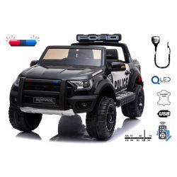 Elektrické autíčko Ford Raptor Policajné, EVA kolesá, Kvalitné odpruženie, čalúnené sedadlo, 2,4 GHz DO, kľúč, 2 X MOTOR, Dvojmiestne, USB, SD karta, ORGINAL licencia