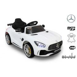 Elektrické autíčko Mercedes-Benz GTR, 12V, 2,4 GHz dialkové ovládanie, odpruženie, otváravé dvere, mäkké EVA kolesá, kožené sedadlo, 2 X MOTOR, biele, ORGINAL licence