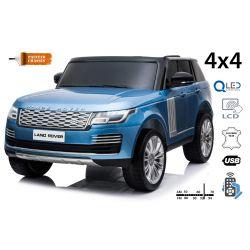 Elektrické autíčko Range Rover, Dvojmiestne, modré lakované, Kožené sedadlá, LCD Displej, Pohon 4x4, 2x 12V7AH, EVA kolesá, Odpružené nápravy, Kľúčové trojpolohové štartovanie, 2,4 GHz Bluetooth Dialkový Ovládač