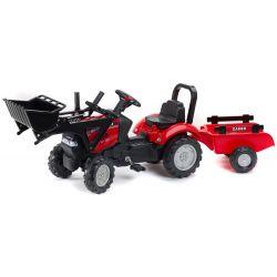 FALK Šliapací traktor 961AM Case s nakladačom a vlečkou