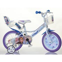 """DINO Bikes - Detský bicykel 14"""" 144RF3 so sedačkou pre bábiku a košíkom Frozen 2"""