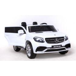 Elektrické autíčko Mercedes-Benz GLS 63 Biele, Pohon 4x4, 2x12V, EVA kolesá, široké dvojmiestne čalúnené sedadlo, 2,4 GHz DO, 4 X MOTOR, Dvojmiestne, vstup pre USB, SD kartu