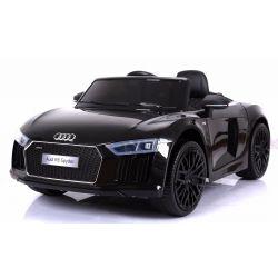 Elektrické autíčko Audi R8 Spyder, 12V, 2,4 GHz dialkové ovládanie, otváravé dvere, EVA kolesá, kožené sedadlo, 2 X MOTOR, čierne, ORGINAL licencia