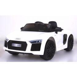 Elektrické autíčko Audi R8 Spyder, 12V, 2,4 GHz dialkové ovládanie, otváravé dvere, EVA kolesá, kožené sedadlo, 2 X MOTOR, biele, ORGINAL licencia
