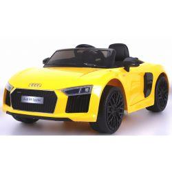 Elektrické autíčko Audi R8 Spyder, 12V, 2,4 GHz dialkové ovládanie, otváravé dvere, EVA kolesá, kožené sedadlo, 2 X MOTOR, žlté, ORGINAL licencia