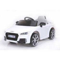 Zánovné elektrické autíčko Audi TT RS, 12V, 2,4 GHz dialkové ovládanie, otváravé dvere, EVA kolesá, kožené sedadlo, 2 X MOTOR, biele, ORGINAL licencia