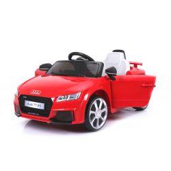 Zánovné elektrické autíčko Audi TT RS, 12V, 2,4 GHz dialkové ovládanie, otváravé dvere, EVA kolesá, kožené sedadlo, 2 X MOTOR, červené, ORGINAL licencia