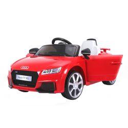 Elektrické autíčko Audi TT RS, 12V, 2,4 GHz dialkové ovládanie, otváravé dvere, EVA kolesá, kožené sedadlo, 2 X MOTOR, červené, ORGINAL licencia