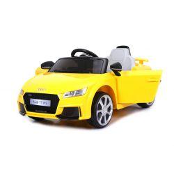 Elektrické autíčko Audi TT RS, 12V, 2,4 GHz dialkové ovládanie, otváravé dvere, EVA kolesá, kožené sedadlo, 2 X MOTOR, žlté, ORGINAL licencia