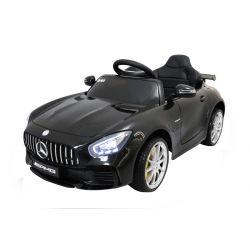Elektrické autíčko Mercedes-Benz GTR, 12V, 2,4 GHz dialkové ovládanie, odpruženie, otváravé dvere, mäkké EVA kolesá, kožené sedadlo, 2 X MOTOR, čierne, ORGINAL licence