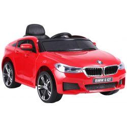 Elektrické autíčko BMW 6GT –  červené, EVA kolesá, kožené sedadlo, Batéria 2 x 6V/4Ah, 2,4 GHz DO, 2XMOTOR, USB vstup, ORGINAL licencia