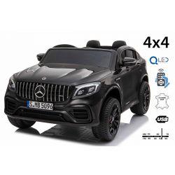 Elektrické autíčko Mercedes-AMG GLC, Dvojmiestne, čierne, Kožené sedadlá, Rádio s USB vstupom, Pohon 4x4, 2x 12V7Ah Batéria, EVA kolesá, Odpružené nápravy, 2,4 GHz Dialkové Ovládanie