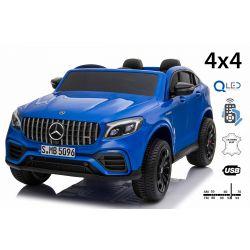 Elektrické autíčko Mercedes-AMG GLC, Dvojmiestne, modré, Kožené sedadlá, Rádio s USB vstupom, Pohon 4x4, 2x 12V7Ah Batéria, EVA kolesá, Odpružené nápravy, 2,4 GHz Dialkové Ovládanie