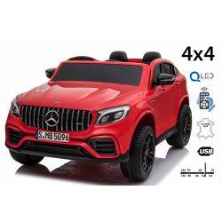Elektrické autíčko Mercedes-AMG GLC, Dvojmiestne, červené, Kožené sedadlá, Rádio s USB vstupom, Pohon 4x4, 2x 12V7Ah Batéria, EVA kolesá, Odpružené nápravy, 2,4 GHz Dialkové Ovládanie