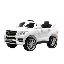 Elektrické autíčko Mercedes-Benz ML350, čalúnené sedadlo, odpružené nápravy, USB/SD Vstup, EVA kolesá, Batéria 12V, 2 X MOTOR, Biele, ORGINAL licencia
