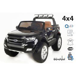Elektrické autíčko Ford Ranger Wildtrak 4X4 LCD Luxury, LCD obrazovka, Pohon 4x4, 2 x 12V, EVA kolesá, čalúnené sedadlo, 2,4 GHz DO, kľúč, 4 X MOTOR, Dvojmiestne, Čierne, Bluetooth, USB, SD karta, ORGINAL licencia