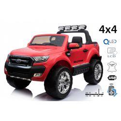 Elektrické autíčko Ford Ranger Wildtrak 4X4 LCD Luxury, LCD obrazovka, Pohon 4x4, 2 x 12V, EVA kolesá, čalúnené sedadlo, 2,4 GHz DO, kľúč, 4 X MOTOR, Dvojmiestne, Červené, Bluetooth, USB, SD karta, ORGINAL licencia