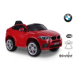 Elektrické autíčko BMW X6M NEW – JEDNOMIESTNE, červené, EVA kolesá, kožené sedadlo, 12V, 2,4 GHz DO, 2XMOTOR, USB, SD karta, ORGINAL licencia