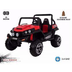Zánovné elektrické autíčko RSX Červené, Pohon 4x4, 2x12V, EVA kolesá, široké dvojmiestne čalúnené sedadlo, 2,4 GHz DO, 4 X MOTOR, Dvojmiestne, FM Radio, Bluetooth