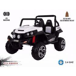 Elektrické autíčko RSX Biele, Pohon 4x4, 2x12V, EVA kolesá, široké dvojmiestne čalúnené sedadlo, 2,4 GHz DO, 4 X MOTOR, Dvojmiestne, FM Radio, Bluetooth