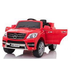 Elektrické autíčko Mercedes-Benz ML350, čalúnené sedadlo, odpružené nápravy, USB/SD Vstup, EVA kolesá, Batéria 12V, 2 X MOTOR, Červené, ORGINAL licencia