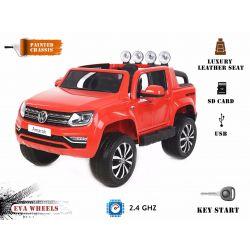 Elektrické autíčko Volkswagen Amarok, Pohon 4x4, Lakované červené, 2x12V, EVA kolesá, široké čalúnené sedadlo, 2,4 GHz DO, 4 X MOTOR, USB