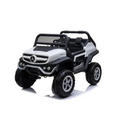 Elektrické autíčko Mercedes Unimog biele, Pohon 4x4, 12V/14Ah, EVA kolesá, široké dvojmiestne sedadlo,  2,4 GHz Dialkový Ovládač, 4 X MOTOR, Dvojmiestne, USB, Bluetooth