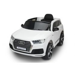 Elektrické autíčko Audi Q7, Biela, EVA kolesá, Jednomiestne sedadlo, 12V, 2,4 GHz DO, 2XMOTOR, USB, SD karta, ORGINAL licencia