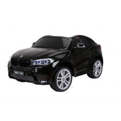 Elektrické autíčko BMW X6 M, 2 miestne, 2 x 120 W motor, 12V, elektrická brzda, 2,4 GHz dialkové ovládanie, otváravé dvere, EVA kolesá, kožené sedadlo, 2 X MOTOR, čierne, ORGINAL licencia