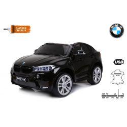 Elektrické autíčko BMW X6 M, 2 miestne, 2 x 120 W motor, 12V, elektrická brzda, 2,4 GHz dialkové ovládanie, otváravé dvere, EVA kolesá, kožené sedadlo, 2 X MOTOR, čierne lakované, ORGINAL licencia