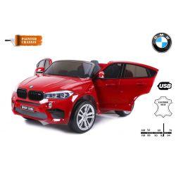 Zánovné elektrické autíčko BMW X6 M, 2 miestne, 2 x 120 W motor, 12V, elektrická brzda, 2,4 GHz dialkové ovládanie, otváravé dvere, EVA kolesá, kožené sedadlo, 2 X MOTOR, červené lakované, ORGINAL licencia