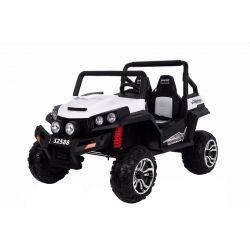 Zánovné elektrické autíčko RSX Biele, Pohon 4x4, 2x12V, EVA kolesá, široké dvojmiestne čalúnené sedadlo, 2,4 GHz DO, 4 X MOTOR, Dvojmiestne, FM Radio, Bluetooth